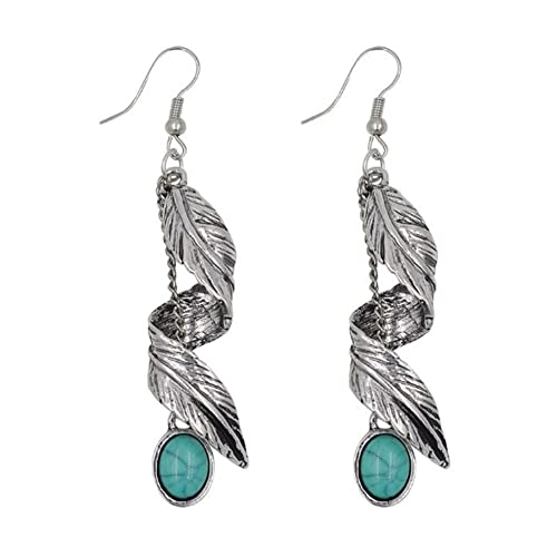 361808b0b Cdet 1pair Earring Women Retro Leaf Turquoise Drop Dangle Ear Studs Jewelry  Accessories Gift