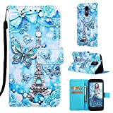 Voanice for LG Aristo 3 Case Wallet/Aristo 2/Aristo 2 Plus/Tribute Dynasty/Tribute Empire/Phoenix 4/Rebel 4/Zone 4/Fortune 2/Rebel 3 LTE with Card Slots Holder Kickstand Flip Cover -Butterfly/Tower