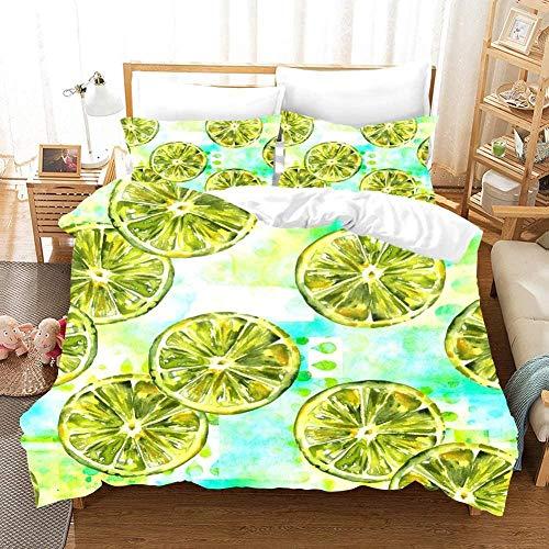 Bevvsovs 3D printed duvet cover, soft single double bed full size bedding, ( individual 135 x 200 cm ) Green fruit lemon cold drink simple bed sheet pillowcase bedding 3pcs + 2 Pillowcase 50 X