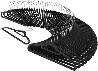 CRESNEL Non-Slip Velvet Clothes Hangers - Ultra Thin Space Saving Design for Men and Women Dress Suit - 50 pcs Set - Solid Black
