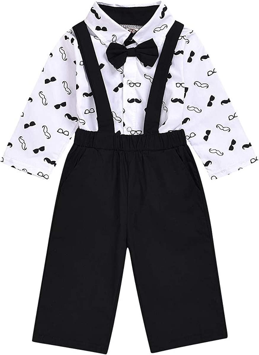 Besokuse Baby Boys Gentleman Moustache Outfit Bow Tie Shirt Romper with Overall Suspenders Pant Wedding Tuxedo Outfit