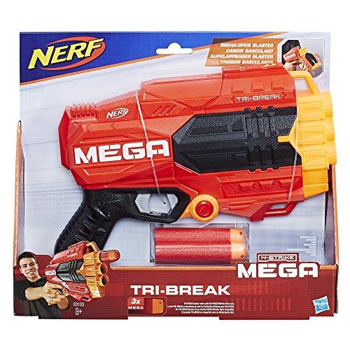 Hasbro E0103EU4 - Mega Tri Break compact speelgoedblaster, met grote darts
