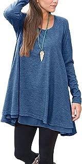 Women's Long Sleeve Chiffon Hem Blouse Layered Scoop Neck Casual Loose Tunic Top Shirt