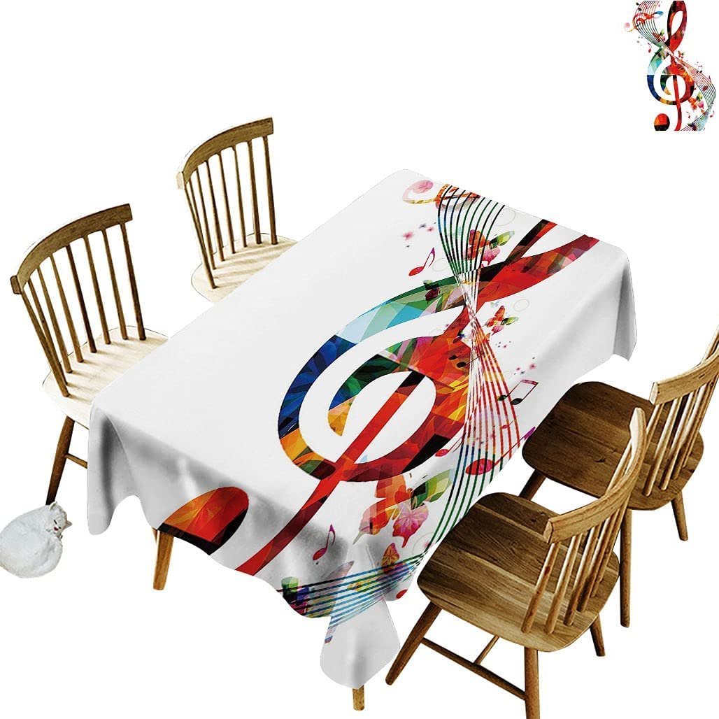Music Oblong Tablecloth Mail order Artwork with Musical Song depot Rhythm Notes