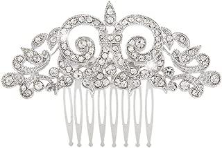 EVER FAITH Women's Austrian Crystal Art Deco Floral Leaf Vine Hair Comb Clear Silver-Tone