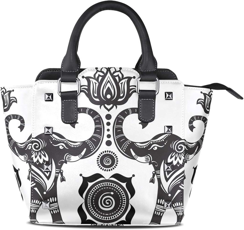 Leather Tribal Ethnic Lotus Elephant Rivet Handbags Tote Bag Shoulder Satchel for Women Girls