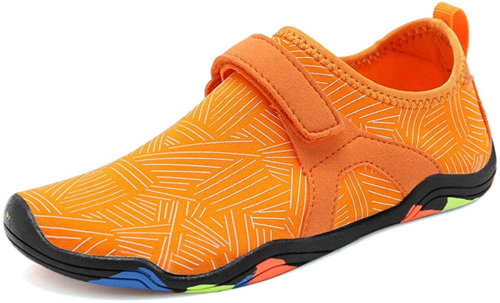 CIOR Boys & Girls Water Shoes Quick Drying Sports Aqua Athletic Sneakers Lightweight Sport Shoes(Toddler/Little Kid/Big Kid) DKSX-orange-32