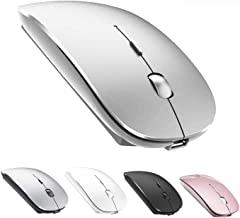 Bluetooth Mouse Rechargeable Wireless Mouse for MacBook Pro,Bluetooth Wireless Mouse for Laptop PC Computer (Silver)