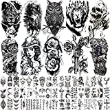 Hotoyannia 62 Sheets Black Large Temporary Tattoos Stickers For Men and Women, Includes 10 Large Fake Tattoos That Look Real And Last Long