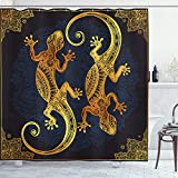 Ambesonne Mandala Shower Curtain, Gecko Lizards Boho Framework Tropical Tattoo Style, Cloth Fabric Bathroom Decor Set with Hooks, 75' Long, Blue Orange