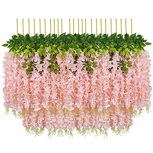 Pauwer 24 Pack (86.6 FT) Artificial Wisteria Vine Ratta Fake Wisteria Hanging Garland Silk Long Hanging Bush Flowers String Home Party Wedding Decor (Blush Peach)