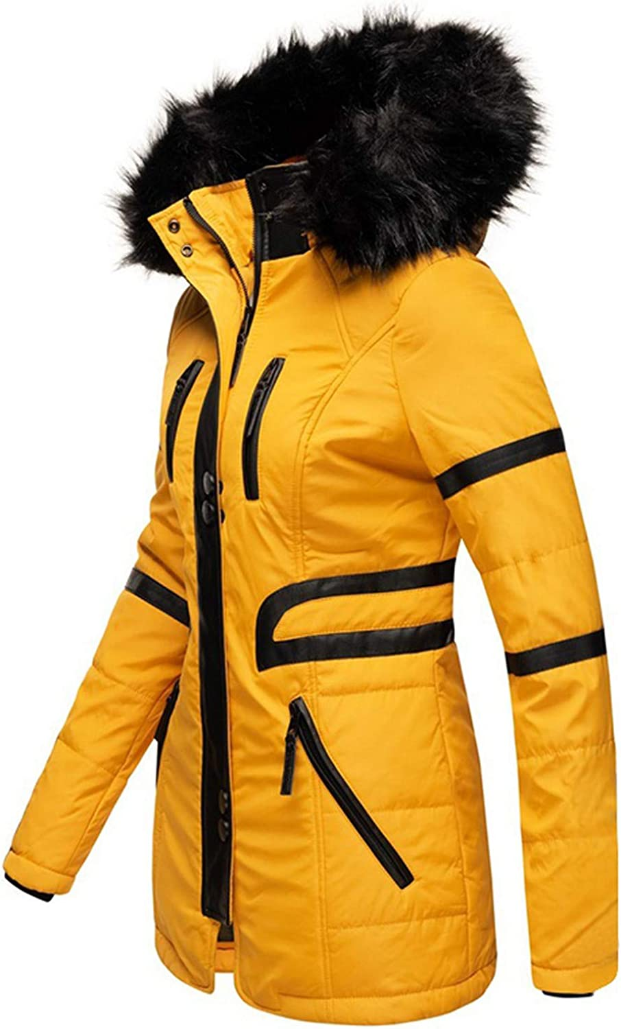 Ulanda Womens Winter Hooded Coat Quilted Warm Thicken Long Down Parka Puffer Jacket Coats with Fur Hood