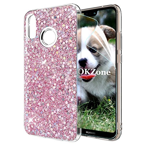 OKZone Cover Huawei P20 Lite, Custodia Lucciante con Brillantini Glitters Ultra Sottile Designer Case Cover per Huawei P20 Lite (Rosa)