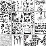 Cxnwuggfvsc 16 unids/set número de letras plantillas de flores pintura Scrapbooking repujado