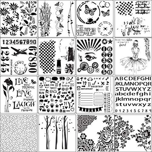 Hfbwjfhgdj 16-teiliges Set mit Buchstaben, Zahlen, Blumen, Schablonen, Malerei, Scrapbooking, Prägung