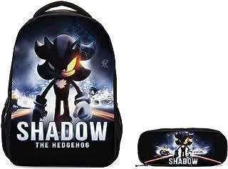 mochila escolar 2 unids/lote nuevo juego de mochila escolar Sonic Shadow de dibujos animados para niños niñas adolescentes mochila para portátil chico bandolera estuche para lápices niños