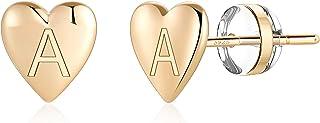 Heart Initial Stud Earrings for Girls - S925 Sterling Silver Post 14K Gold Plated Dainty Letter Earrings Hypoallergenic Little Initial Earrings for Women Girls Kids Sensitive Girls Earrings