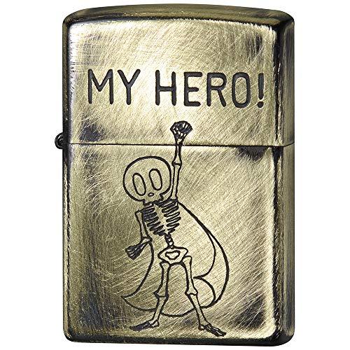ZIPPO(ジッポー) ライター ゴールド ユーズド フィニッシュ ファニースカル エッチング 2UDB-HERO 高さ5.5cm×幅3.8cm×奥行き1.3cm