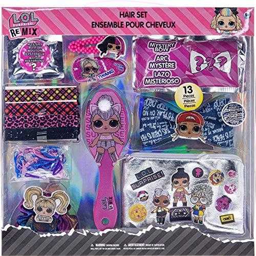 L.O.L Surprise! Townley Girl Jumbo Juego de accesorios para el cabello para niñas, mayores de 5 años con 13 piezas que incluye cepillo para el cabello, scrunchie, corbatas, botón sorpresa y más