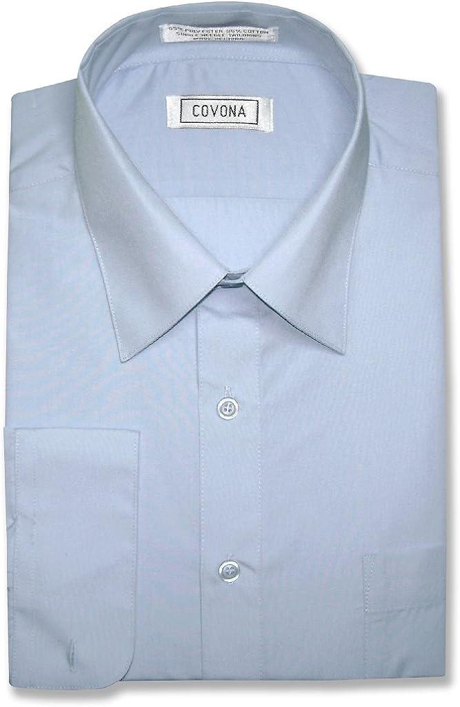Men's Solid Powder Blue Color Dress Shirt w/Convertible Cuffs