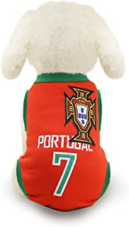 SymbolLife Dog Clothes Football T-Shirt Dogs Costume National Soccer World Cup FIFA Jersey for Pet Portugal