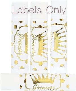 Gold Foil Princess Labels, Gold Crown Princess Lip Balm Labels, Princess Birthday Stickers