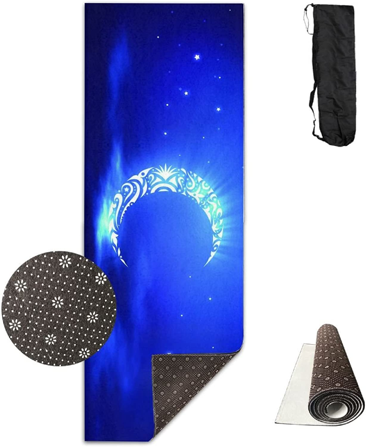 BINGZHAO bluee Crescent Moon Shape Painting Exercise Yoga Mat for Pilates,Gym,Fitness, Travel & Hiking