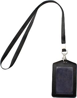 MYLERCT Porte-Badge Noir, Porte-Cartes D'insigne Transparent en Cuir Double Face, Porte-Badge Vertical Peut être Utilisé p...