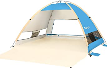 Gorich Large Pop Up Beach Tent Beach Umbrella Automatic Sun Shelter Cabana Easy Set Up Light Weight Camping Fishing Tents 4 Person Anti-UV Portable Sunshade for Family Adults
