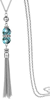 Double Crystal Long Tassels Sweater Chain Pendant Necklace Mother Gift Jewelry 32