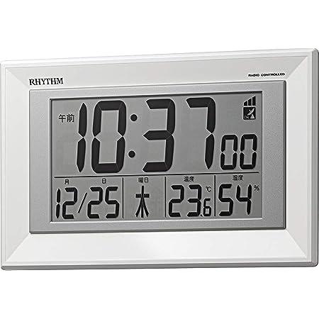 リズム(RHYTHM) 掛け時計 白 16.4x25.5x2.9cm 電波 デジタル 置き掛け兼用 温度 湿度 カレンダー 8RZ204SR03