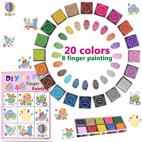 20 Colores Lavable Almohadillas de Tinta Para Niños, Arco Iris Color de Huellas Dactilares Almohadilla de Tinta Para Sellos de Goma Socio Tarjetas y Niños DIY Scrapbooking (Multicolor)