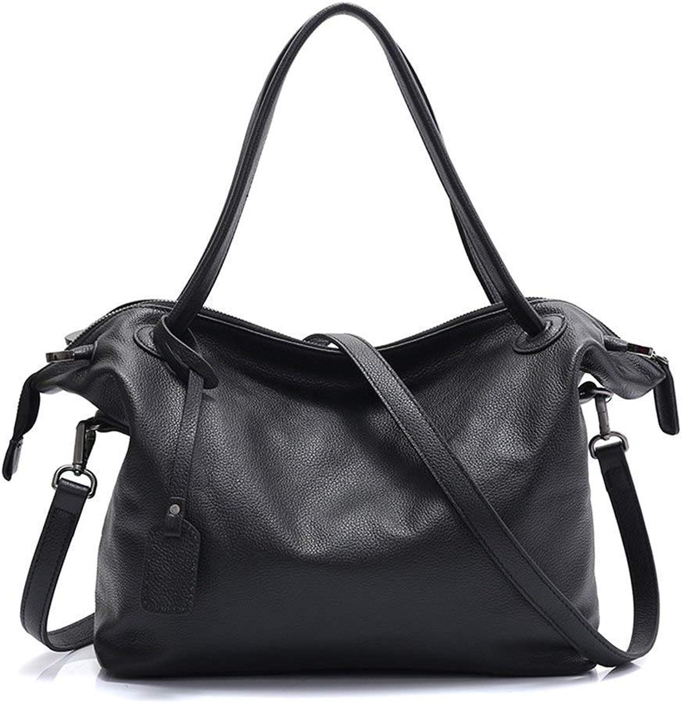 Bloomerang Zency 100% Natural Leather Fashion Women Shoulder Bag Large Capacity Female Messenger Crossbody Purse Black Tote Handbag Elegant color Black