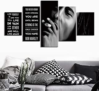 Bob Marley 5 Panel Canvases Print HD Wall Art Painting Three Little Birds Song for Modern Home Living Room Wall Decor Artwork Wooden Framed Ready to Hang,B,30×40×230×60×230×80×1