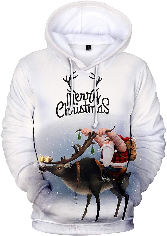 NREALY Men Long Sleeve Christmas 3D Printed T Shirt Hooded Tops Blouse