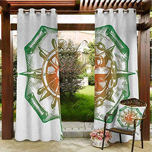 Compass Home Curtains Patio Cabana Porch Gazebo Panel Drapery 72'x108' Retro Design Windrose with Anchor and Chains Marine Elements of Navigation Forest Green Red