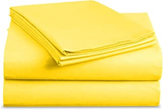 Luxe Bedding Sets - Queen Sheets 4 Piece, Flat Bed Sheets, Deep Pocket Fitted Sheet, Pillow Cases, Queen Sheet Set - Bright Yellow