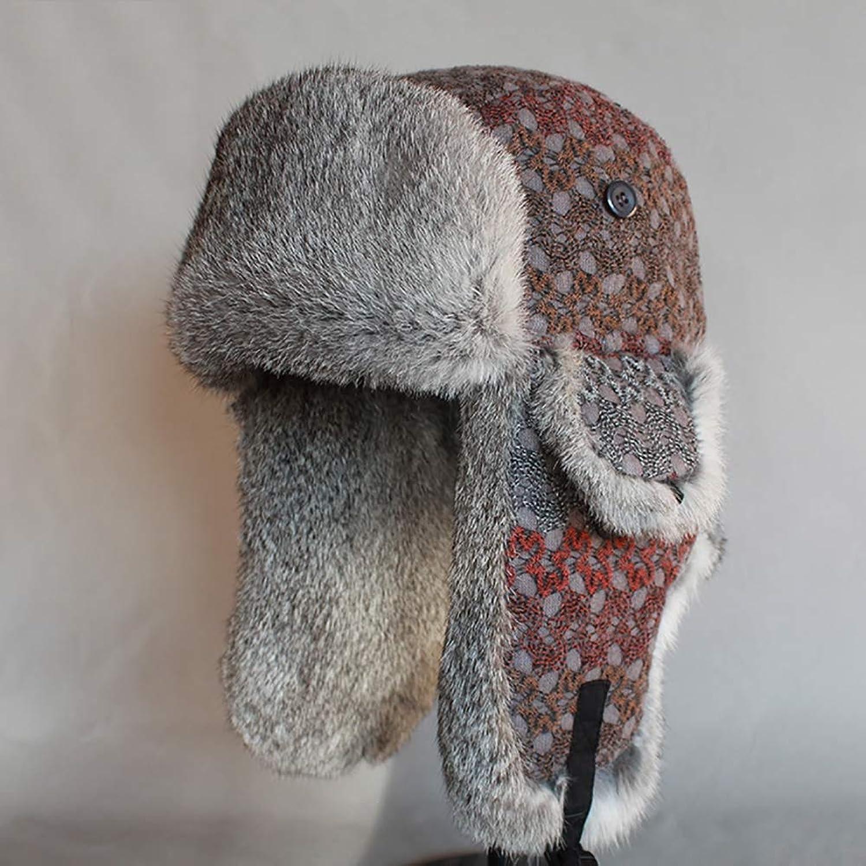 forma única WTOKL Sombrero Piel de esquí de los Hombres al al al Aire Libre de Invierno Gruesa Hembra de Gran tamaño Pelo de Conejo Lei Feng Hat,XL  promociones de descuento
