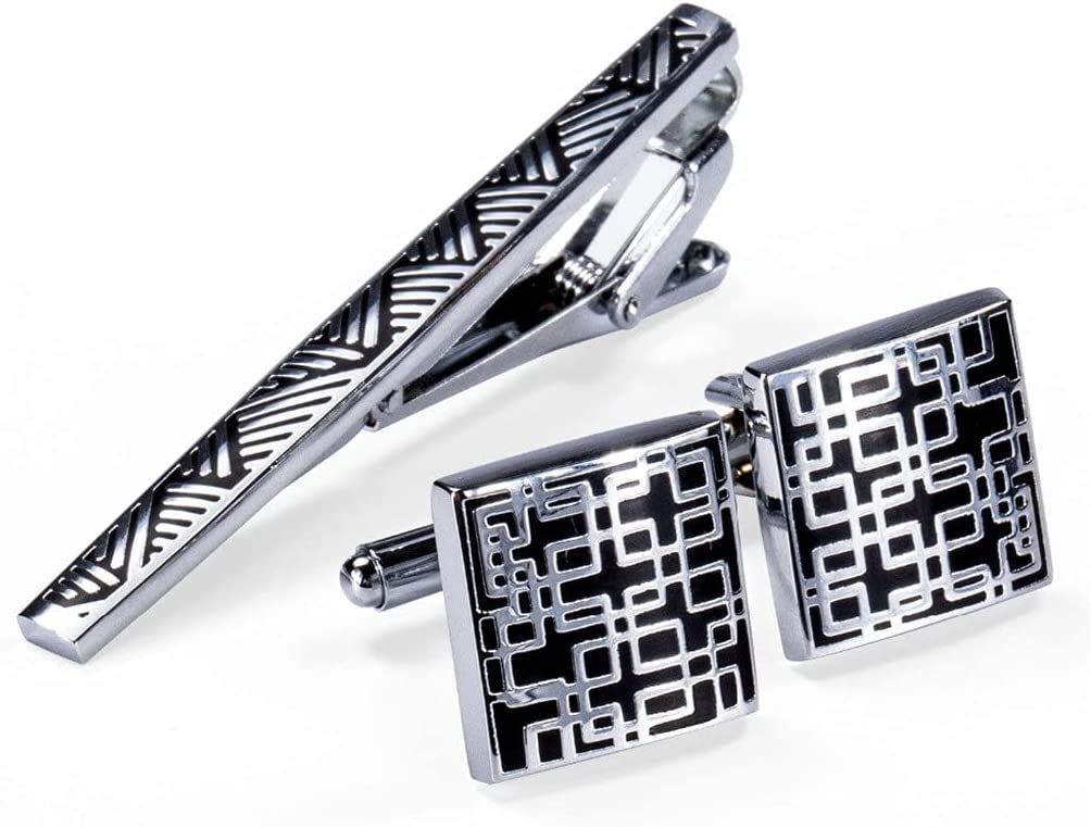 UXZDX Cufflinks Necktie Clip for Tie Pin for Mens Gift Classic Pattern Tie Bar Cufflinks Tie Clip Set (Color : A, Size : One Size)