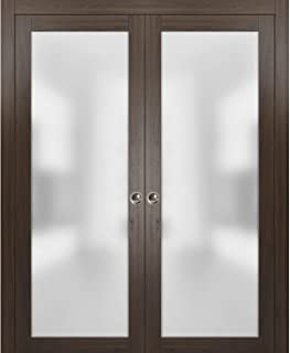 Modern Double Pocket Closet Glass Doors 64 x 80 | Planum 2102 Chocolate Ash | Pocket Frame Trims Pulls Rail Hardware | Solid Wood Interior Sliding Doors Frosted Glass |