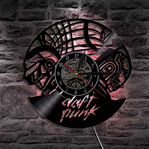 BFMBCHDJ Draft Punk Band Vinyl Uhr LED Beleuchtung Farbwechsel Wandleuchte Fernbedienung Moderne Hintergrundbeleuchtung Home Decor