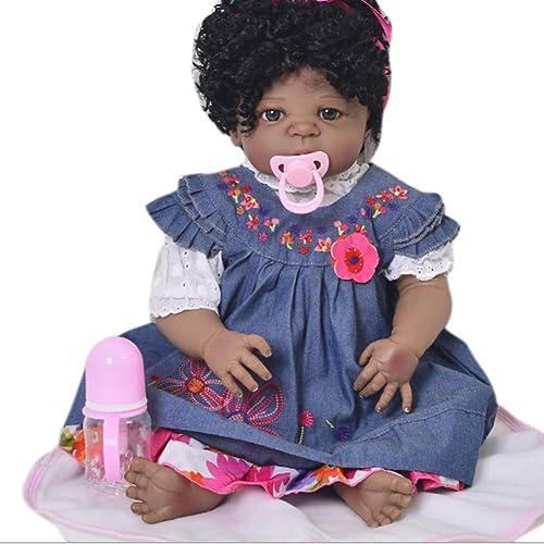 Candyana Reborn Doll 57cm schwarz Skin Roll Hair Realistic Silicone Dolls Girl Birthday Neugeborener Partner Xmas Geschenk,57cm