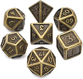 D&D Metal Dice Set, 7PCS Ancient Bronze Dice with Metal Tin for Dragons Player, Shadowrun, Pathfinder, Savage World and Table Games
