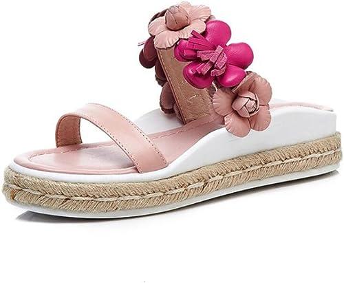 DANDANJIE Mesdames Sandales d'été Mode Fleurs Douces Tongs et Pantoufles Open-Toe Chaussures de Mode en Plein air léger