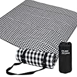 WAZATE Black and White Grid Outdoor Picnic Blanket Picnic Blanket Waterproof Foldable Beach Blanket for Park Camping Festivals Hiking Travelling