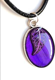 Colgante de hoja púrpura hecho a mano camafeo collar étnico joyería de mujer unisex idea de regalo colgante de resina natural