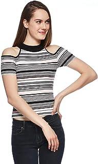 Bershka T-Shirts For Women, Black & White, Size S