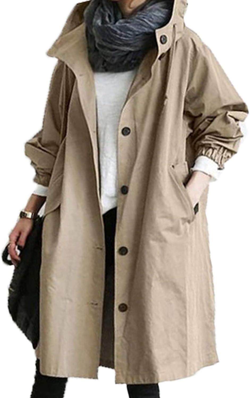 NREALY Womens Winter Loose Hooded Wild Elegant Windbreaker Comfortable Coat