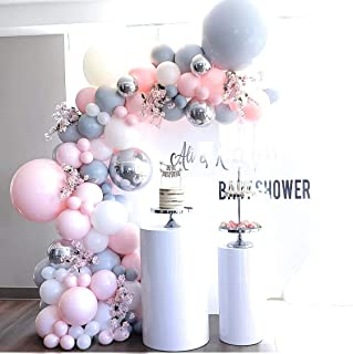 Pink,Gray,Silver, Gold,White Balloon Arch Garland kit,Wedding Ballon Bridal,Baby Shower, Luxury Foil, Butterfly, Anniversary, Gender Reveal,Birthday Party Decorations,Pump Backdrop Background 106 pcs