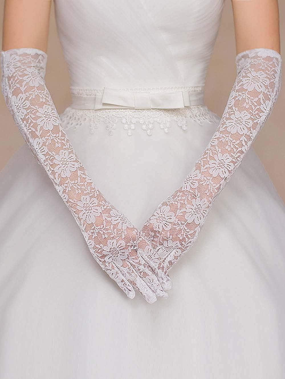 Jovono Women Long Lace Gloves Women Bridal Wedding Elegant Gloves Ladies Fancy Dress Hen Nights Halloween Party Gothic Gloves Brides Accessories